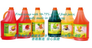 Hong Kong made fruit syrup, with 50%-75% of real fruit juice, just add water and enjoy the flavor of